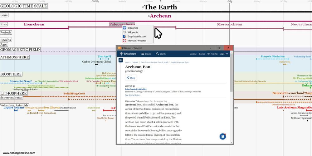 Screenshot of Interactive Geologic Time Scale