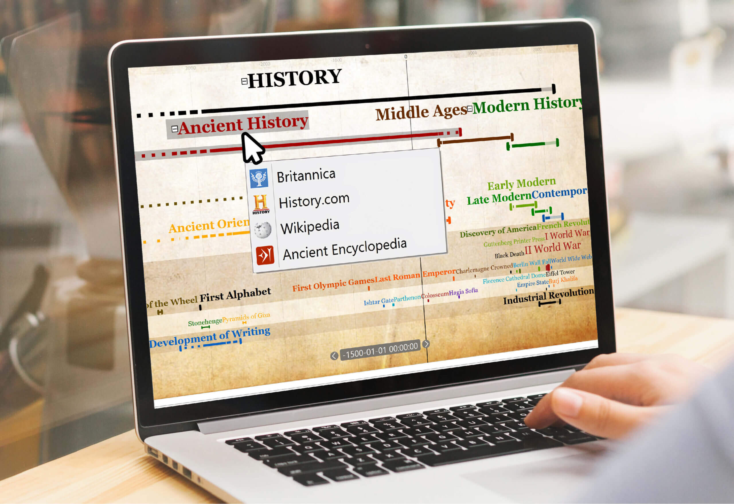 Built-in encyclopedia access from Timeline Software