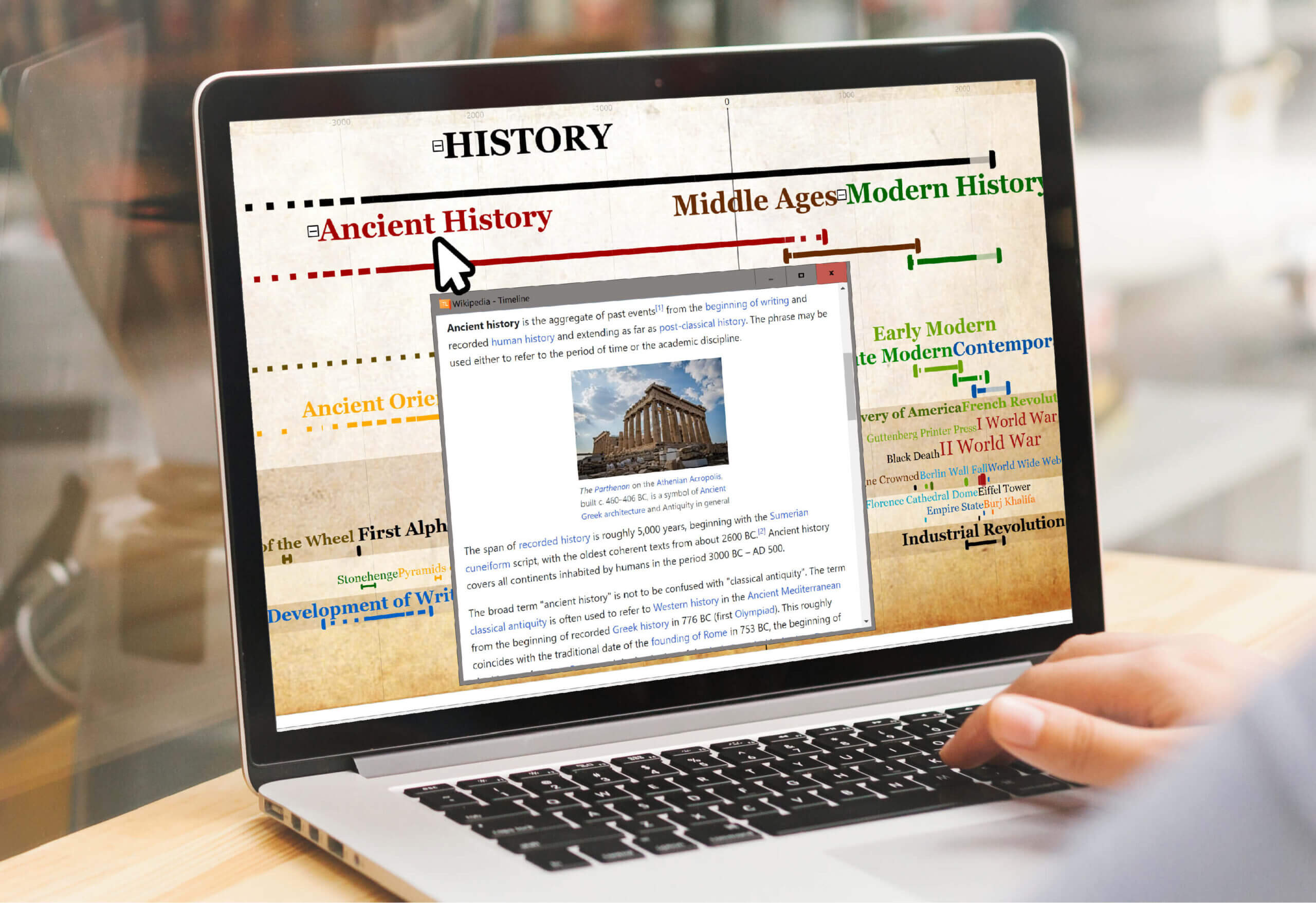 Built-in access to articles using Timeline Software